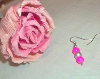 Neon Pink Earrings, Handmade Earrings, Hot Pink Earrings, Pink Beaded Earrings, Neon Dangle Earrings, Teen Girl Earrings, Pink and Silver