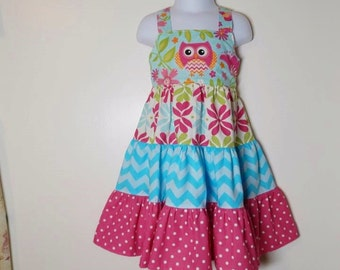 Size 2 Girls Adorable Owl Twirly Sundress
