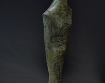 Cycladic figurine Great Bronze marble based sculpture