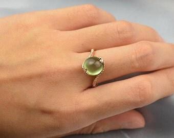 Prehnite Diamond Ring in 18k Rose Gold Engagement Wedding Birthday Anniversary Valentine's