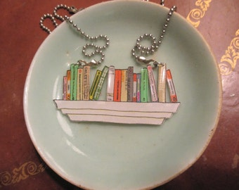 Custom Book Necklace: Shelf Portrait [Book Jewelry Pendant Literature Statement Author Authors Library Librarian Bookstore Books]