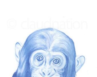 Children's Wall Art Print - Chimp - Kids Nursery Room Decor