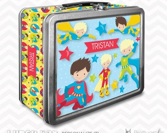 SALE Superhero Lunch box, personalized lunch box, chalkboard inside for notes, custom name lunch box, Metal lunch box - LB119