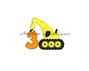 Construction Crane Birthday Number 3 Machine Applique Embroidery Design Fits Hoops 5x7 6x10 Instant Download