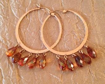 Swarovski Dangling Briolette Hoop Earrings