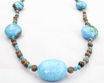 Handmade Marble & Turquoise Necklace - Texotli Necklace