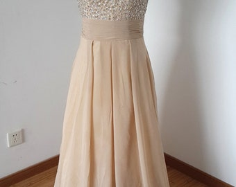 2015 Backless Straps Champagne Chiffon Beaded Long Prom Dress