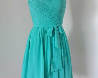 Sweetheart Turquoise Blue Chiffon Short Bridesmaid Dress with unattached Sash