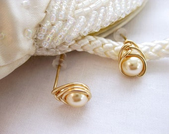 Light Gold Pearl Studs, 14K Gold Filled Herringbone Wrapped Swarovski Crystal Pearl Stud Earrings by The Celtic Elf / Lt Gold Pearl Earrings