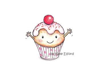 Cup cake print, 6x4 cheeky cupcake!
