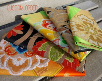 Custom Kimono Obi Clutch Purse with chain