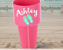 personalized beach spikers - pink name and flip flop beach spike vacation favor