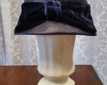 Vintage Cloche Hat Original by Dayne in Navy Blue
