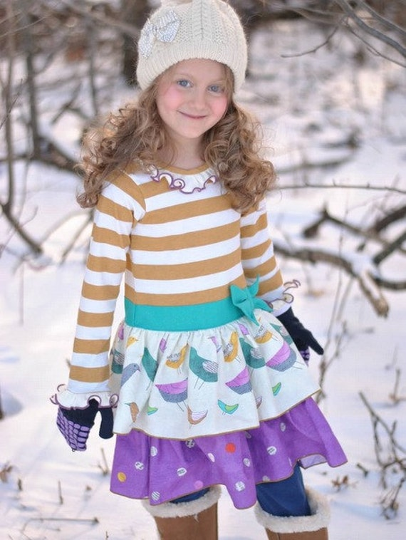 Phoebe's Drop Waist Dress. PDF sewing pattern for toddler girl sizes 2t - 12.