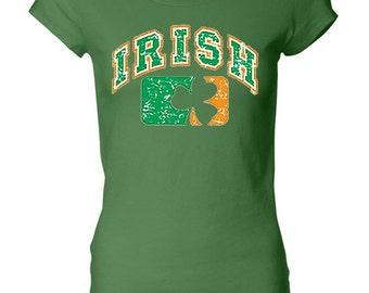 St Patrick's Day Ladies Shirt Distressed Irish Shamrock Longer Length Tee T-Shirt A11368C-8101