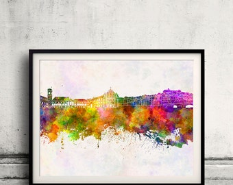 Coimbra skyline in watercolor background 8x10 in. to 12x16 in. Poster Digital Wall art Illustration Print Art Decorative  - SKU 0141