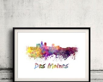 Des Moines skyline in watercolor over white background with name of city 8x10 in. to 12x16 in. Poster art Illustration Print  - SKU 0258