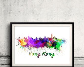 Hong Kong skyline in watercolor over white background with name of city 8x10 in. to 12x16 in. Poster Wall art Illustration Print  - SKU 0322
