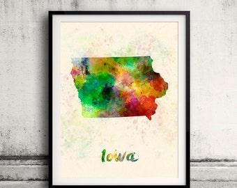 Iowa US State in watercolor background 8x10 in. to 12x16 in. Poster Digital Wall art Illustration Print Art Decorative  - SKU 0402