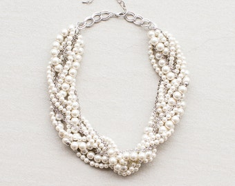 "18"" Braided Pearl Necklace"