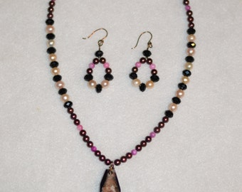 Rock Pendant Necklace and Earring Set