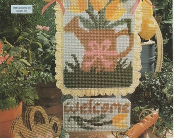 Spring or Summer Welcome Sign and Coasters in Plastic Canvas
