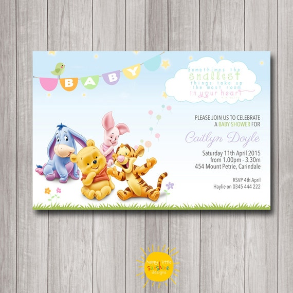 printable custom baby shower invitation winnie the pooh neutral boy