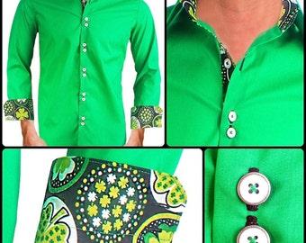 St Patrick's Day Men's Designer Dress Shirt - Made To Order in USA