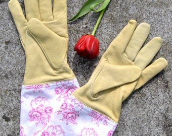 Garden lust. Exclusive garden gloves made of goat leather. Vintagestoffstulpe from Bavarian, traditional fabric. nadeloehr25.