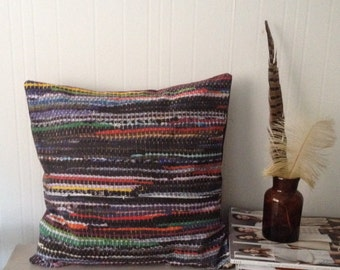 Rag rug printed pillow cover. Multicolored.