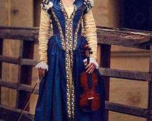 Dark Blue Taffeta Renaissance Dress, 16th Century Italy Eleonora of Toledo Ball Gown