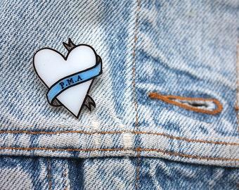 PMA Heart // Sassy Traditional Tattoo Style Banner Brooch // Positive Mental Attitude