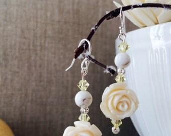 White Rose Stone Silver earrings, Swarovski crystal earrings, Dangle earring, Turquoise Bead earrings, Wedding Jewelry, Boho, Ivory Earrings