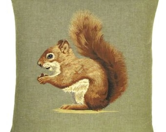 Squirrel Pillow Cover - Squirrel Gift - Forest Decor - Sage Green Pillow - 18x18 Belgian Tapestry Pillow Cover - PC-5318