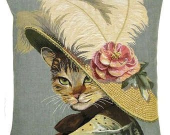 belgian gobelin tapestry cushion throw pillow cover belle epoque dressed cat with hat