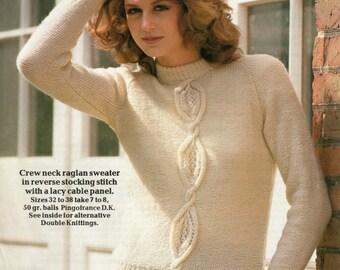 Knitting Pattern Ladies Crew Neck Raglan Sweater