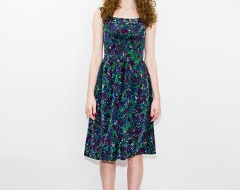 1950's Multi Colored Velvet Dress