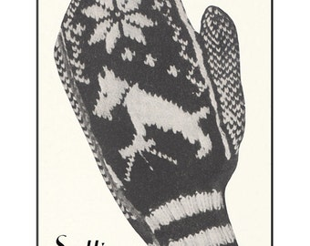 1930s Scottie Sports Mittens -- Instant Download PDF -- Knitting E-pattern