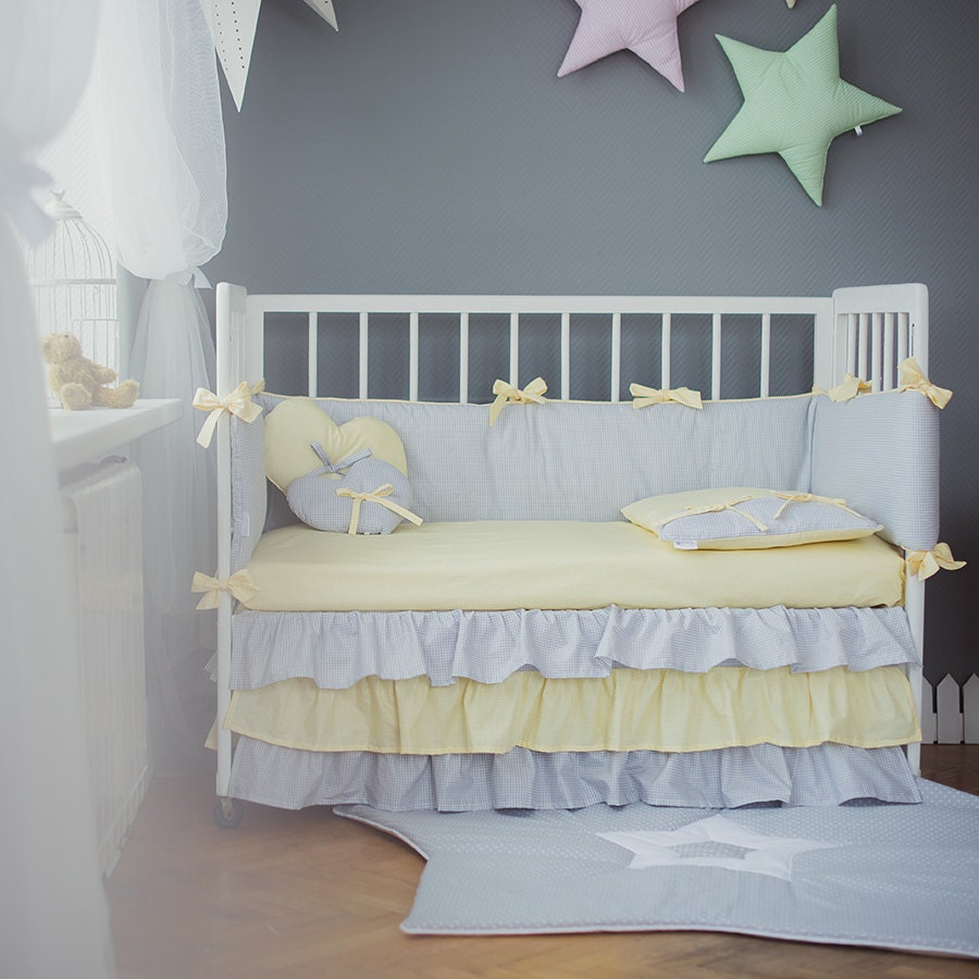 crib bedding grey yellow baby bed sets yellow by cotandcot. Black Bedroom Furniture Sets. Home Design Ideas
