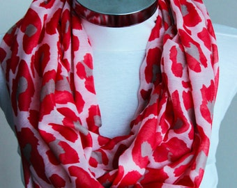 Pink  red infinity scarf circle Scarf tube scarf with pink red shades scarf with vivid colors spring summer fashion mother's day gift