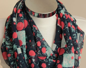 Red Circle Infinity Scarf:  gray square Scarf with geometric designs, scarf with vivid colors,  spring summer fashion