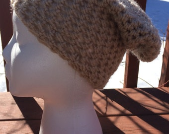 Crochet Slouched Tan Beanie