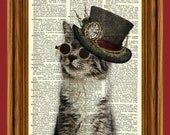 Steampunk Cat Upcycled Dictionary Art Print Poster