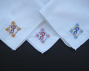 "Vintage Handkerchiefs SET OF 3 ""P"" Monogram"