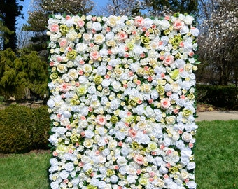 5' x 7' Ivory Faux Flower Wall // FREE Shipping
