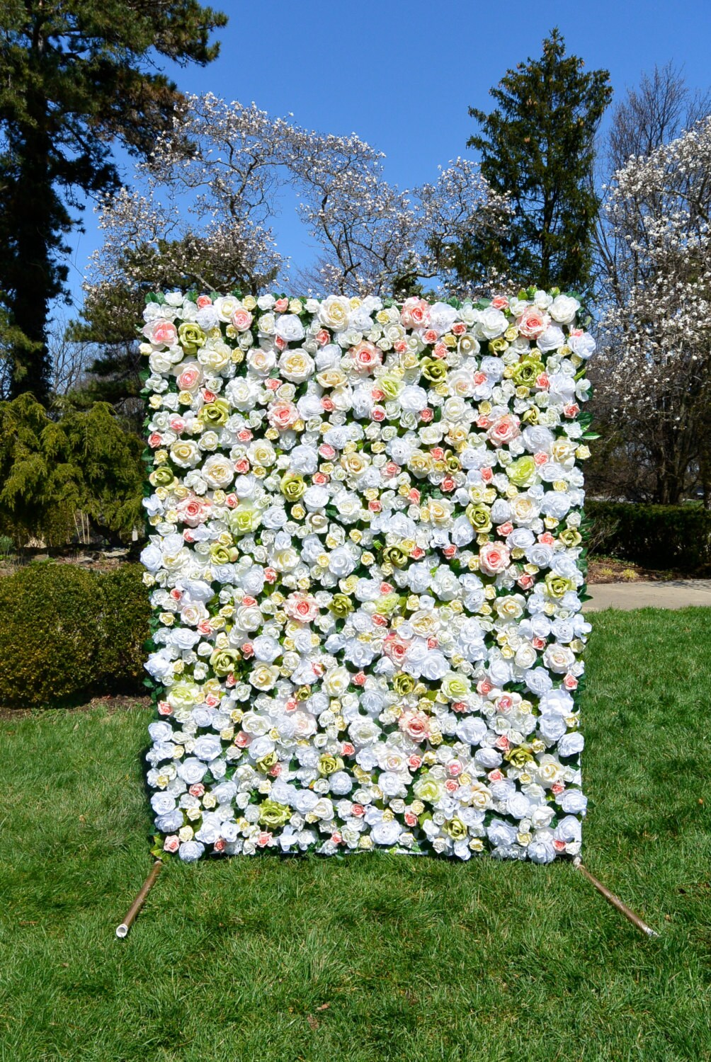 5 X 7 Ivory Faux Flower Wall Free Shipping
