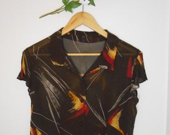 Vintage abstract print blouse