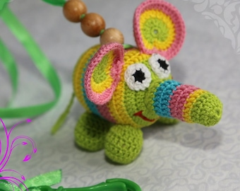 Crochet rattle Funny Elephant Baby rattle New baby toy Crochet toy Toddler toy Crochet baby toy Animal toy Toy handmade Nursery toy