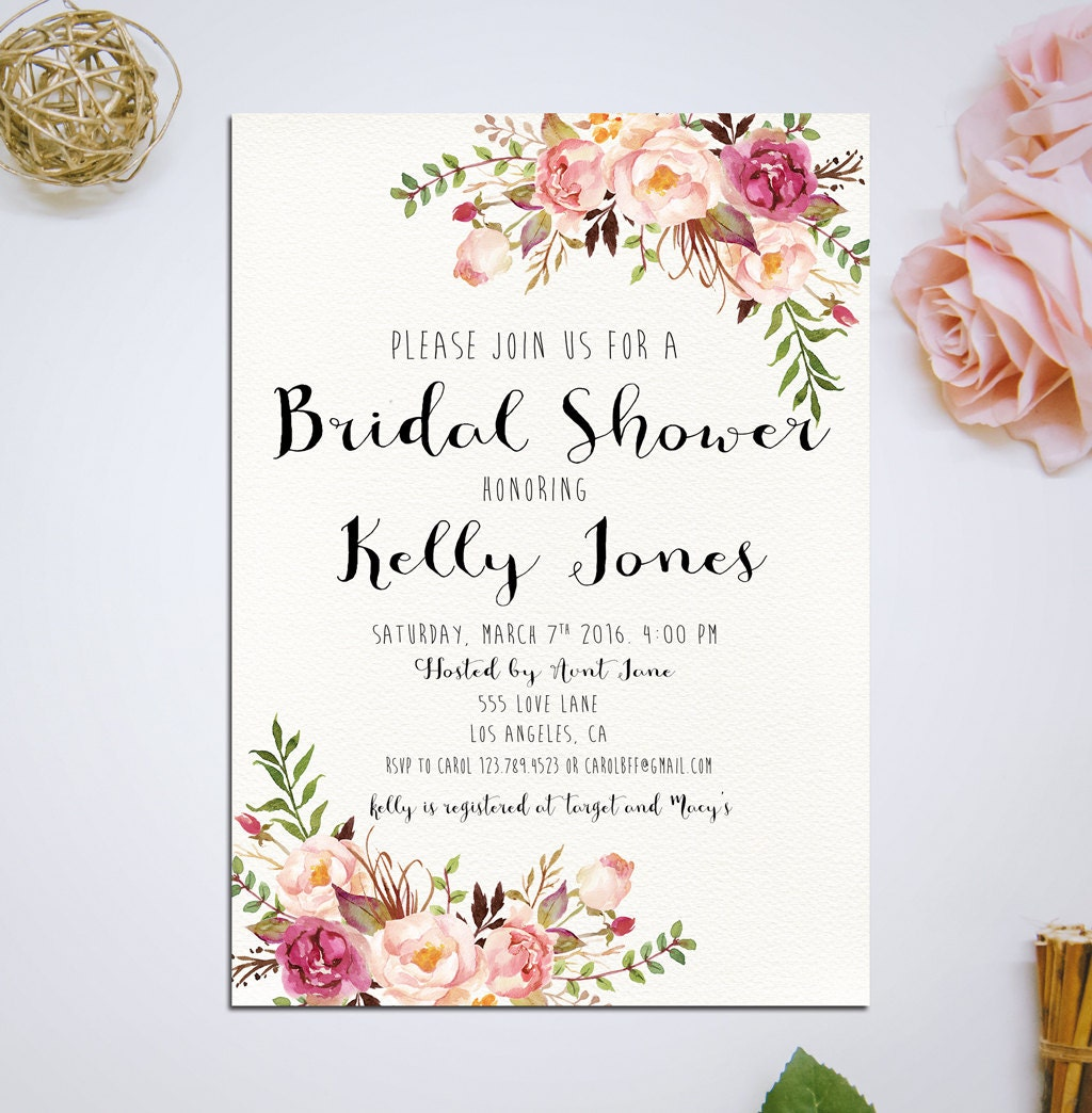 Gutsy image intended for printable bridal shower invites