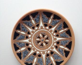 Clay Plate 100 Percent Handmade Hand Painted Keramik